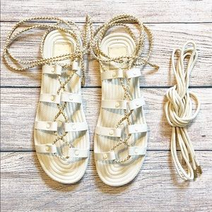 Tory Burch Rope Lace-Up Rubber Sandals